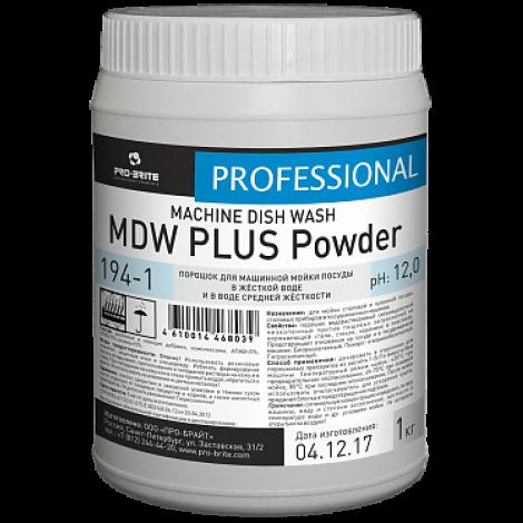 Порошок для машинной мойки посуды в жёсткой воде и в воде средней жёсткости (4-12°Ж) - Pro-Brite MDW Plus Powder 1кг