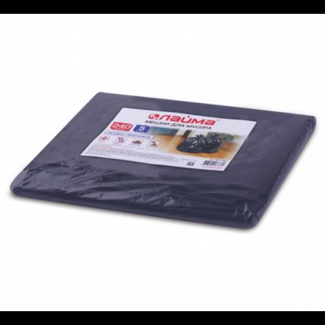 Мешки для мусора 240 л, черные, в пачке 5 шт., ПВД, 60 мкм, 90х140 см (±5%), особо прочные - ЛАЙМА