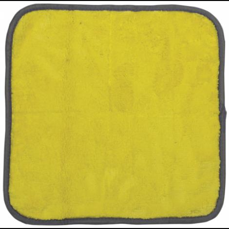 Салфетка универсальная двусторонняя, плотная микрофибра (плюш), 35х35 см, желтая/серая - ЛАЙМА