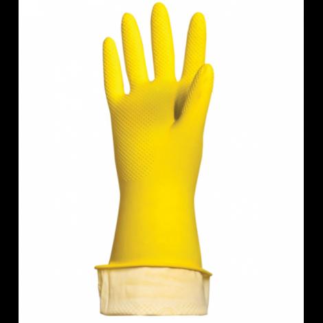 """Перчатки хозяйственные латексные """"Премиум"""", хлопчатобумажное напыление, суперплотные, размер L - ЛАЙМА"""
