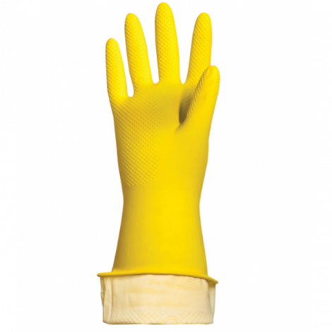 """Перчатки хозяйственные латексные """"Люкс"""", хлопчатобумажное напыление, плотные, размер XL - ЛАЙМА"""