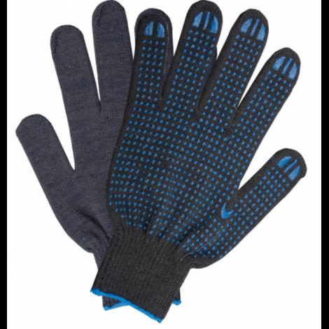 Перчатки хлопчатобумажные, 1 пара, 10 класс, 40-42 г, 116 текс, ПВХ точка, черные - ЛАЙМА