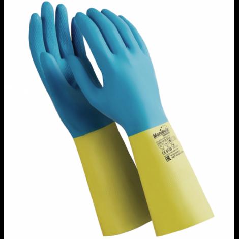 """Перчатки латексно-неопреновые, 1 пара, хб напыление, размер M, синие/желтые - MANIPULA """"Союз"""""""