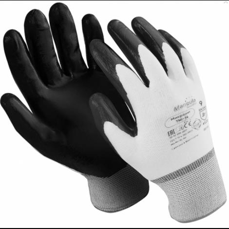 """Перчатки нейлоновые, 1 пара, нитриловое покрытие, размер L, белые/черные - MANIPULA """"Микронит"""""""