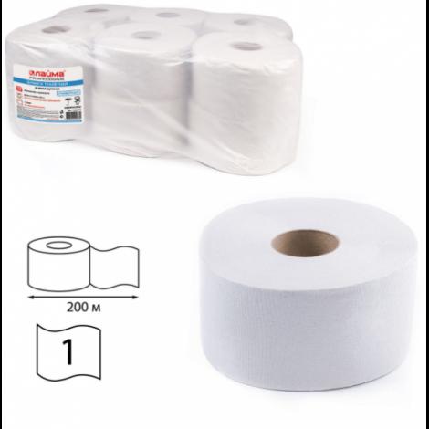 Бумага туалетная 200 м, универсал, втулка, 12 шт. в пачке - ЛАЙМА (Система T2)