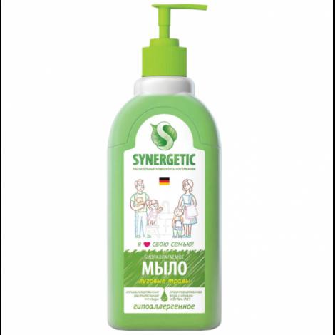 """Мыло жидкое, гипоаллергенное, дозатор - SYNERGETIC """"Луговые травы"""" 500мл"""