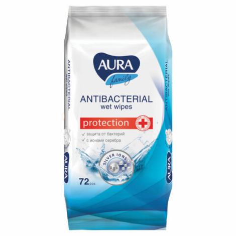 """Салфетки влажные, 72 шт., AURA """"Family"""", антибактериальные, для всей семьи"""
