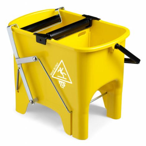 Ведро TTS Squizzy15, полипропил(15 л), с 2-мя роликовыми отжимами, педалью, пластик. ручкой,желтое