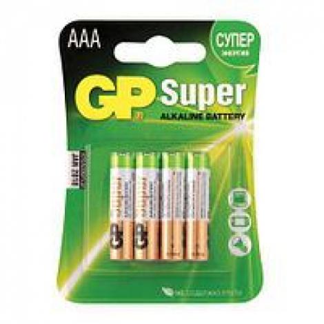 Батарейки КОМПЛЕКТ 4 шт, GP Super, AAA (LR03, 24А), алкалиновые, мизинчиковые, блистер, 24A-2CR4