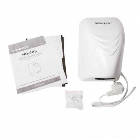 Сушилка для рук SONNEN HD-988, 850 Вт, пластиковый корпус, белая