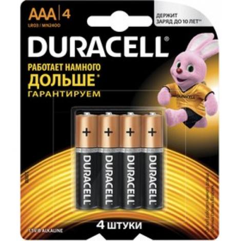 Батарейки КОМПЛЕКТ 4 шт, DURACELL Basic, AAA (LR03, 24А),алкалиновые,мизинчиковые,блистер