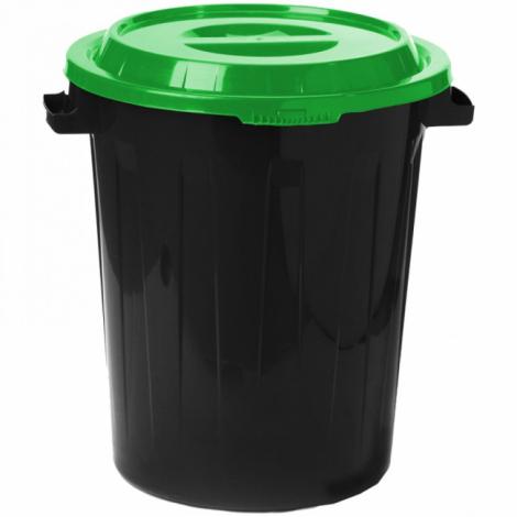 Контейнер 90 литров для мусора, БАК+КРЫШКА (высота 64 см х диаметр 60 см), ассорти, IDEA, М 2394/СЕРЫЙ