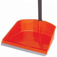 Совок для мусора 25х20 см, + щетка-сметка 20х8 см, на рукоятках 80 см, пластик, оранжевый - IDEA