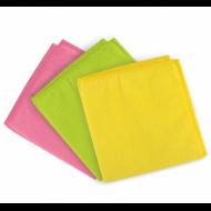 Салфетки универсальные, КОМПЛЕКТ 3 шт., плотная микрофибра, 30х30 см, ассорти (розовая, зеленая, желтая) - ЛАЙМА