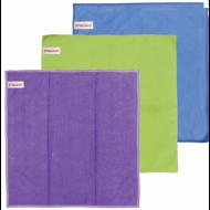 Салфетки для уборки, КОМПЛЕКТ 3 шт., микрофибра, 30х30 см (универсальная, стекло, мебель) - ЛАЙМА