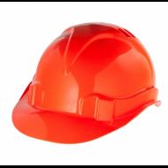 Каска защитная, ударопрочный пластик, размер 52-66, оранжевая