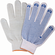 Перчатки хлопчатобумажные, 1 пара, 10 класс, 32-34 г, 83 текс, ПВХ точка, белые - ЛАЙМА