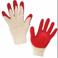 Перчатки хлопчатобумажные, 1 пара, 13 класс, 36-38 г, 100 текс, ОДИНАРНЫЙ латексный облив - ЛАЙМА