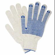 Перчатки хлопчатобумажные, 1 пара, 7 класс, 65-67 г, 216 текс, ПВХ точка, белые, XL - ЛАЙМА
