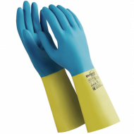 """Перчатки латексно-неопреновые, 1 пара, хб напыление, размер S, синие/желтые - MANIPULA """"Союз"""""""