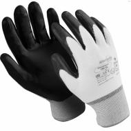 """ерчатки нейлоновые, 1 пара, нитриловое покрытие, размер XL, белые/черные - MANIPULA """"Микронит"""""""