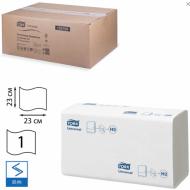 Полотенца бумажные 1-слойные, ZZ-сложения, 250 листов, комплект 20 штук, натуральные белые, 23х23 - TORK Universal (Система H3)