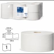 Бумага туалетная 200 м, универсал, втулка, 12 шт. в пачке - TORK (Система Т2)