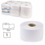 Бумага туалетная 200 м, универсал, втулка, 12 шт. в пачке, отбелённая - ЛАЙМА (Система Т2)