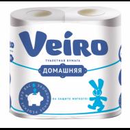 """Бумага туалетная бытовая, спайка 4 шт., 2-х слойная (4х15 м), VEIRO """"Домашняя"""", белая"""