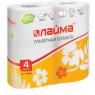 Бумага туалетная бытовая, спайка 4 шт., 2-х слойная (4х19 м), ЛАЙМА, белая