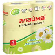 Бумага туалетная бытовая, спайка 4 шт., 2-х слойная (4х19 м), ЛАЙМА, аромат ромашки