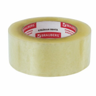 Клейкая лента упаковочная 48мм х 100м, прозрачная, толщина 45 микрон, BRAUBERG