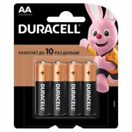 Батарейки КОМПЛЕКТ 4 шт., DURACELL Basic, AA (LR06, 15А), алкалиновые, пальчиковые, блистер, MN 1500 АА LR6