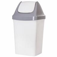 """Ведро-контейнер 15 л, с крышкой (качающейся), для мусора,""""Свинг"""", 47х27х23 см, серое, IDEA, М 2462"""