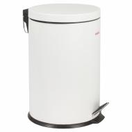 """Ведро-контейнер для мусора (урна) с педалью LAIMA """"Classic"""", 5 л, белое, глянцевое, металл, со съемным внутренним ведром, 604947"""